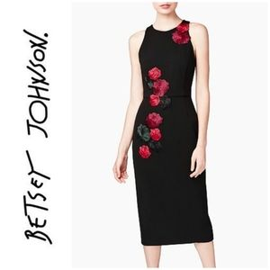 NWT Betsey Johnson Black Sleeveless Midi Dress